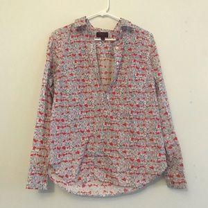J crew liberty art fabrics popover floral blouse